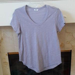 Wilt Lavender V Neck Raw Hem Shirttail Top